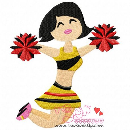 Cheerleader-2 Embroidery Design For Sports Event And Kids