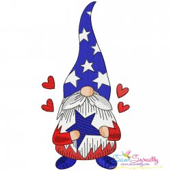 4th of July Patriotic Gnome Star Embroidery Design