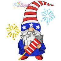 4th of July Patriotic Gnome Rocket Fireworks Embroidery Design
