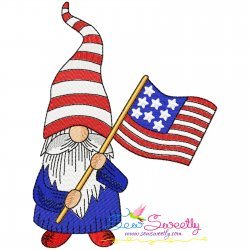 4th of July Patriotic Gnome Flag Embroidery Design