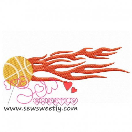 Flaming Basketball Embroidery Design For Sports Event