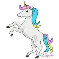 Unicorn Rearing Embroidery Design