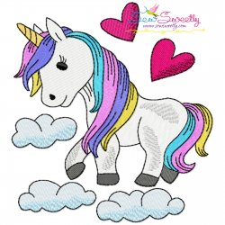 Unicorn and Clouds Embroidery Design