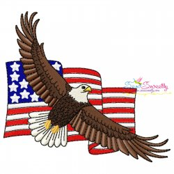 4th of July Patriotic Bald Eagle Flag-3 Embroidery Design