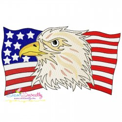 4th of July Patriotic Bald Eagle Flag-2 Embroidery Design Pattern- Category- 4th of July Designs- 1