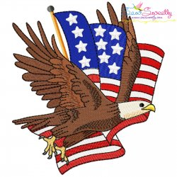 4th of July Patriotic Bald Eagle Flag-1 Embroidery Design Pattern- Category- 4th of July Designs- 1