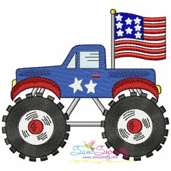 4th of July Patriotic Monster Truck-4 Embroidery Design Pattern- Category- 4th of July Designs- 1