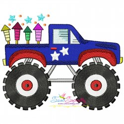 4th of July Patriotic Monster Truck-3 Embroidery Design Pattern- Category- 4th of July Designs- 1