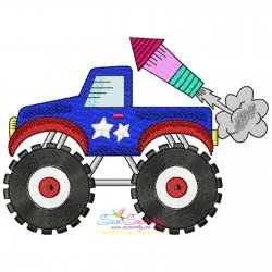 4th of July Patriotic Monster Truck-2 Embroidery Design Pattern- Category- 4th of July Designs- 1