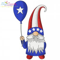 4th of July Patriotic Gnome Star Balloon Embroidery Design Pattern- Category- 4th of July Designs- 1