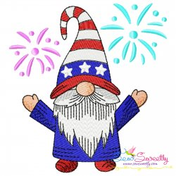 4th of July Patriotic Gnome Fireworks Embroidery Design Pattern- Category- 4th of July Designs- 1