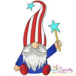 4th of July Patriotic Gnome Star Magic Wand Embroidery Design Pattern- Category- 4th of July Designs- 1