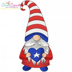 4th of July Patriotic Gnome Star Heart Embroidery Design Pattern- Category- 4th of July Designs- 1
