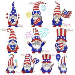 4th of July Patriotic Gnomes Embroidery Design Bundle Pattern- Category- Embroidery Design Bundles- 1