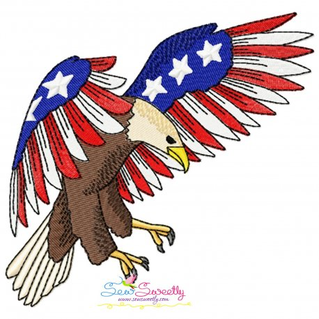 4th of July Patriotic Bald Eagle Flag-9 Embroidery Design Pattern- Category- 4th of July Designs- 1