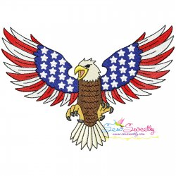 4th of July Patriotic Bald Eagle Flag-7 Embroidery Design Pattern- Category- 4th of July Designs- 1