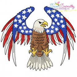 4th of July Patriotic Bald Eagle Flag-8 Embroidery Design Pattern- Category- 4th of July Designs- 1