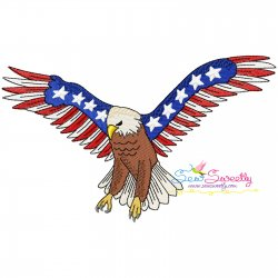 4th of July Patriotic Bald Eagle Flag-6 Embroidery Design Pattern- Category- 4th of July Designs- 1