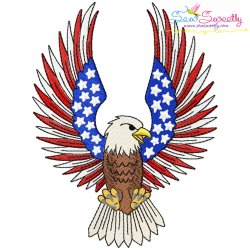 4th of July Patriotic Bald Eagle Flag-5 Embroidery Design Pattern- Category- 4th of July Designs- 1