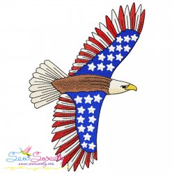 4th of July Patriotic Bald Eagle Flag-4 Embroidery Design Pattern- Category- 4th of July Designs- 1