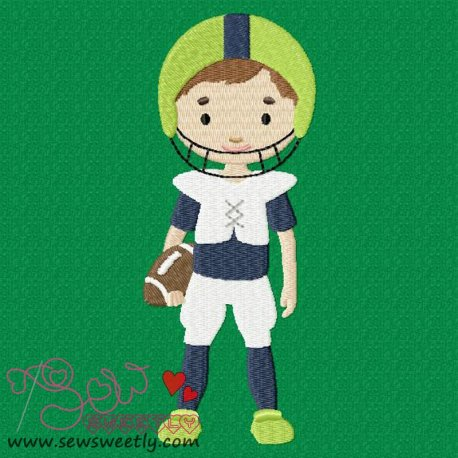 Football Player Embroidery Design For Sports Event And Kids