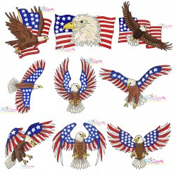 4th of July Patriotic Bald Eagle Flags Embroidery Design Bundle Pattern- Category- Embroidery Design Bundles- 1