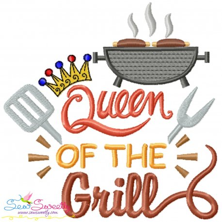 Queen of The Grill Barbeque Lettering Embroidery Design Pattern- Category- Kitchen and Food Designs- 1