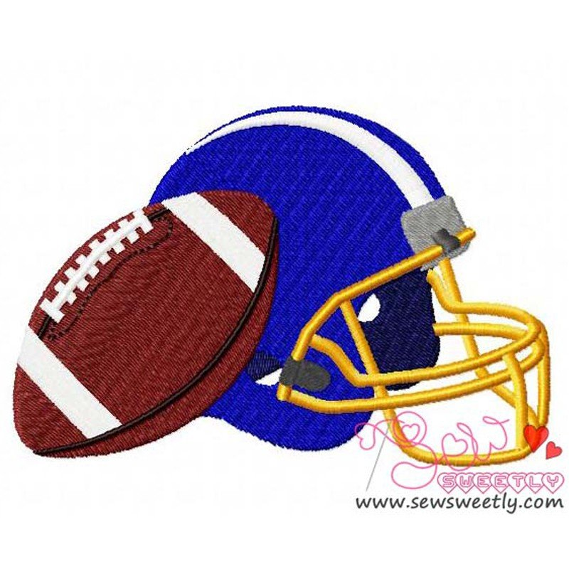 Football With Helmet Machine Embroidery Design