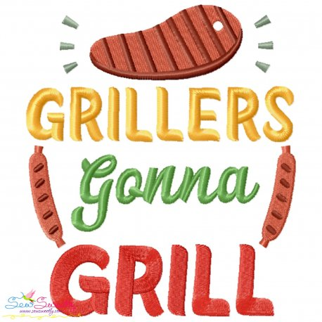 Grillers Gonna Grill Barbeque Lettering Embroidery Design- Category- Kitchen and Food Designs- 1