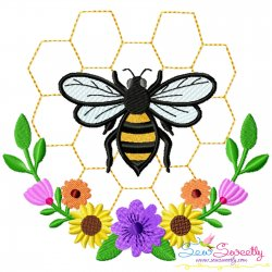 Honey Bee Hive Flowers-2 Embroidery Design For Pillow- Category- Insects And Bugs Designs- 1