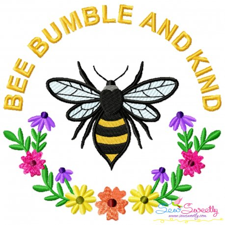 Be Bumble And Kind Frame Bee Lettering Embroidery Design For Pillow- Category- Insects And Bugs Designs- 1