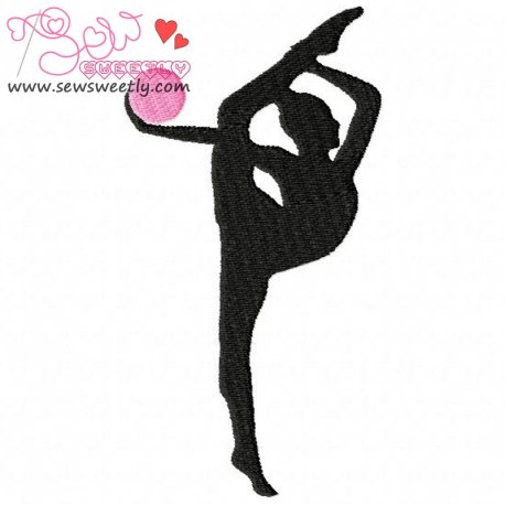 Rhythmic Gymnastics With Ball Embroidery Design For Sports Event