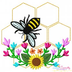 Honey Bee Hive Flowers-1 Embroidery Design For Pillow- Category- Insects And Bugs Designs- 1
