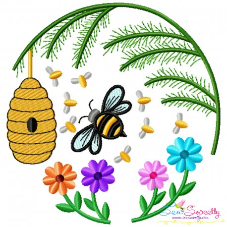 Honey Bee Hive Flowers-3 Embroidery Design For Pillow- Category- Insects And Bugs Designs- 1