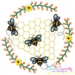 Beehive Flowers Frame Embroidery Design For Pillow- Category- Insects And Bugs Designs- 1