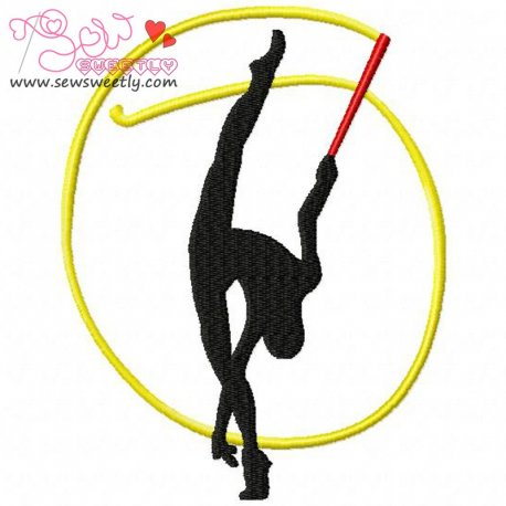 Rhythmic Gymnastics With Ribbon Embroidery Design For Sports Event