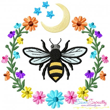 Bee Moon Floral Frame Embroidery Design For Pillow- Category- Insects And Bugs Designs- 1