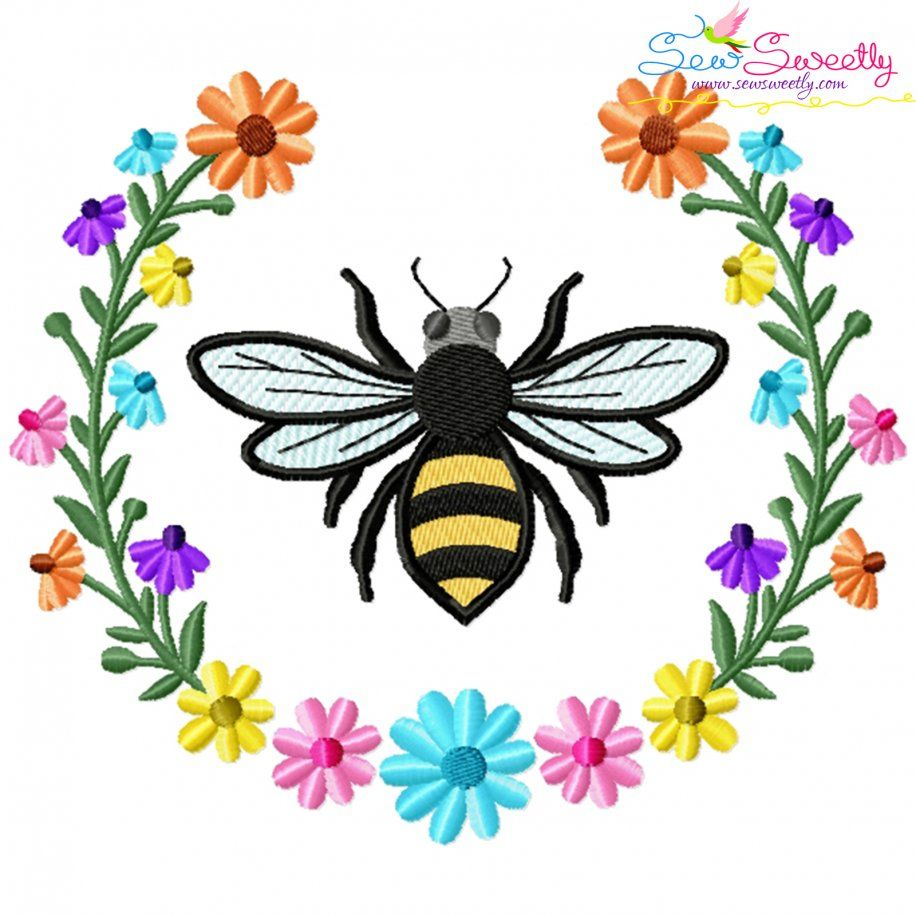 Bee Floral Frame-4 Embroidery Design For Pillow- Category- Insects And Bugs Designs- 1