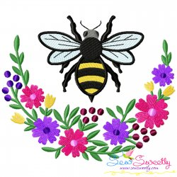 Bee Flowers Moon Embroidery Design For Pillow- Category- Insects And Bugs Designs- 1