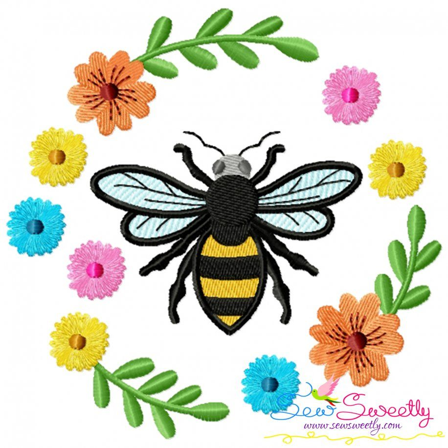 Bee Floral Frame-3 Embroidery Design For Pillow- Category- Insects And Bugs Designs- 1