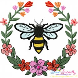 Bee Floral Frame-2 Embroidery Design For Pillow- Category- Insects And Bugs Designs- 1