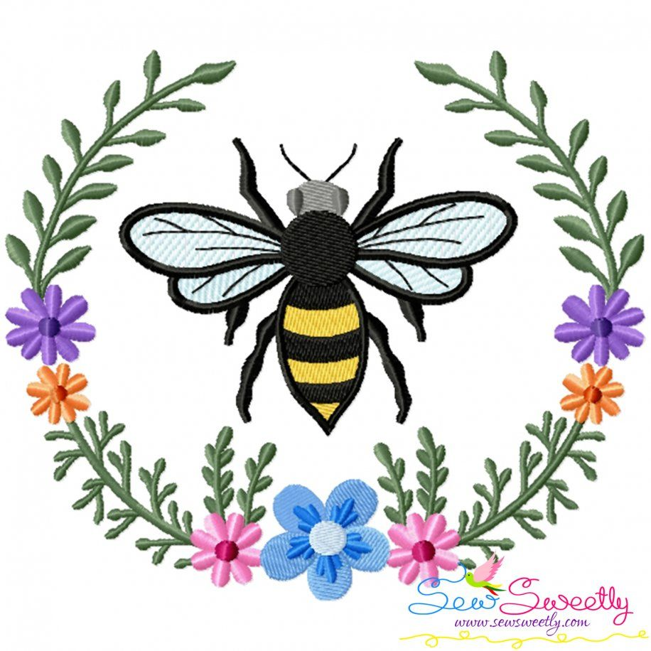 Bee Floral Frame-1 Embroidery Design For Pillow- Category- Insects And Bugs Designs- 1