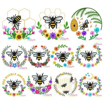 Bees Floral Frames Embroidery Design Bundle- Category- Embroidery Design Bundles- 1