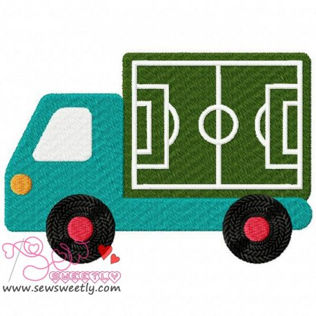 Soccer Field Truck Embroidery Design For Sports Event
