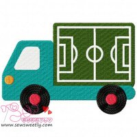 Soccer Field Truck Embroidery Design