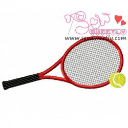 Tennis Racket And Ball Embroidery Design