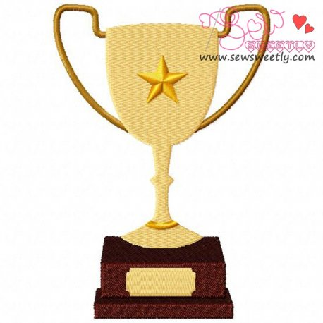 Trophy Embroidery Design For Sports Event