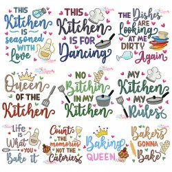 Kitchen And Baking Lettering Embroidery Design Bundle- Category- Embroidery Design Bundles- 1