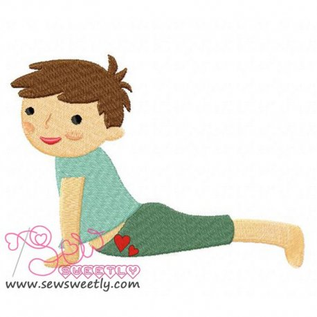 Yoga Boy Embroidery Design For Sports Event And Kids