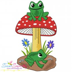 Frog And Mushroom-9 Embroidery Design- Category- Animals Designs- 1